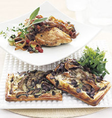 Wild Mushroom and Gruyère Tart with Fresh Herb Salad Recipe