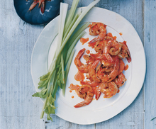 Buffalo Grilled Shrimp with Blue Cheese Dip and Celery Recipe