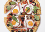 Pizza with Eggs, Roasted Red Peppers, Olives and Arugula Recipe