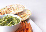 Chickpea Cilantro Dip with Grilled Pita and Carrot Sticks Recipe