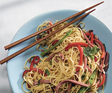 Chinese Egg Noodles with Smoked Duck and Snow Peas Recipe