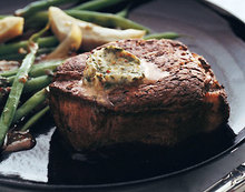 Filets Mignons with Spiced Butter, Glazed Artichokes, and Haricots Verts Recipe