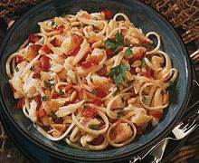 Garlicky Linguine with Crab, Red Bell Pepper and Pine Nuts Recipe