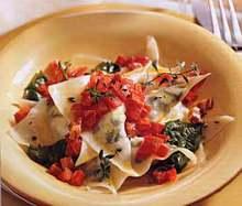 Goat Cheese-Arugula Ravioli with Tomato-Pancetta Butter Recipe