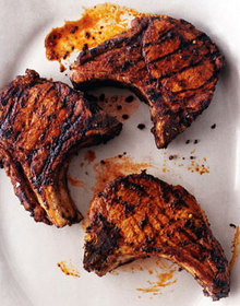 Grilled Giant Pork Chops with Adobo Paste Recipe