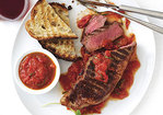 Grilled New York Steaks with San Marzano Sauce Recipe