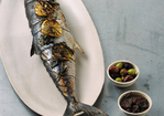 Grilled Whole Mackerel with Lemon, Oregano, and Olives Recipe