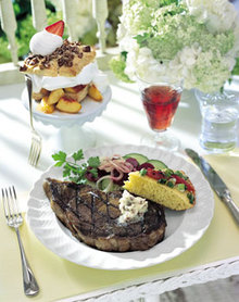 Hickory-Grilled Rib-Eye Steaks with Bacon-Molasses Butter Recipe