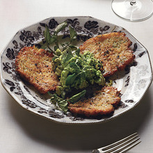 Latkes with Ancho-Chile Salt and Watercress Guacamole Recipe