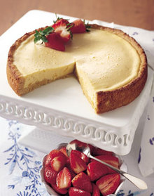 Lemon and Rum Cheesecake with Strawberry Compote Recipe