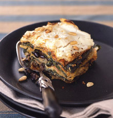 "Mexican Poblano, Spinach, and Black Bean ""Lasagne"" with Goat Cheese Recipe"