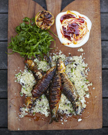Harissa sardines with couscous salad Recipe