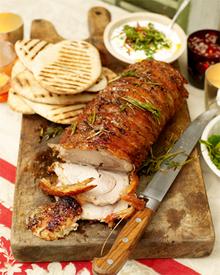 Posh roast pork party kebabs Recipe