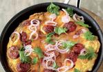 Potato and chorizo omelet with a kinda parsley salad Recipe