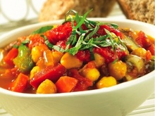 Mushroom and Chickpea Stew with Roasted Red Pepper Coulis Recipe