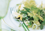Asparagus Salad with Celery Leaves, Quail Eggs, and Tarragon Vinaigrette Recipe