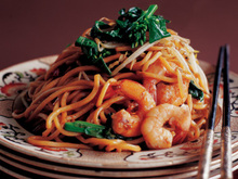 Stir-Fried Chinese Egg Noodles with Shrimp and Asian Greens Recipe