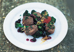 Pan-Seared Venison Loin with Blueberries, Shallots and Red Wine Recipe