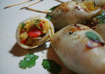 Grilled Calamari with Curried Crab Stuffing Recipe