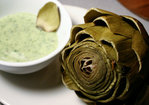 Steamed Artichokes with Eggless Basil Mayonnaise Dip Recipe