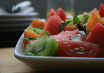 Watermelon, tomato & goats cheese salad with lemon truffle vinaigrette Recipe