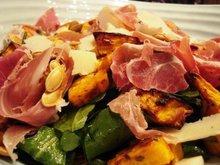 Roasted pumpkin, Serrano ham & Manchego cheese autumn salad Recipe
