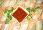 Vegetarian Spring Rolls w/ Asian Chile Dipping Sauce Recipe