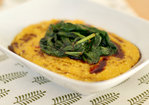 Creamy butternut squash polenta with spicy wilted spinach Recipe