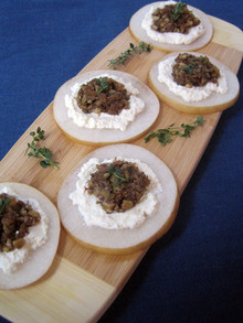 Fig-Walnut Tapenade with Ricotta and Asian Pears Recipe