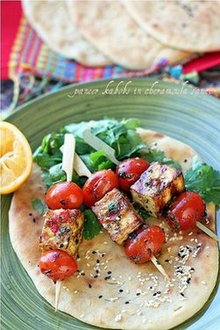 Homemade Grilled Paneer Kabobs in Moroccan Chermoula Sauce Recipe