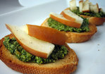 Pear and pesto crostini Recipe