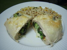 Spinaccomato Stuffed Chicken with Basil and Cheeses Recipe