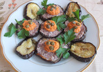 Roasted Eggplant Rounds Topped with Olive Tapenade and Artichoke-Roasted Red Pepper Spread Recipe