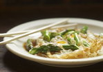 Fried Eggs with Asparagus, Ramps, and Oyster Sauce Recipe