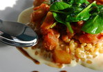 Creamy White Wheat Berry Porridge with Eggplant Stew and Wilted Spinach Recipe