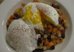 Mixed potato hash with bacon and eggs Recipe