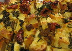Savory Sausage, Greens and Slow Roasted Tomato Bread Pudding Recipe