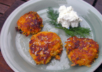 Sweet potato pancake with chevre and dill Recipe