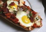 """""""Eggs in Pipérade"""" Pizza with Crispy Prosciutto Recipe"""