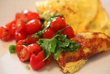 Avocado Omelet with Cherry Tomato Lime Relish Recipe