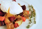 Corned Beef and Root Vegetable Hash with Poached Eggs Recipe