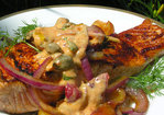 A cool cherry paprikash sauce for salmon Recipe
