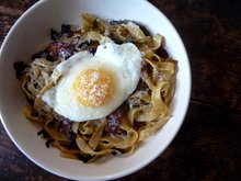 Fresh Fettucine with Bacon, Ramps and an Egg Recipe