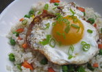 Crispy Fried Eggs on Garlic Fried Rice Recipe