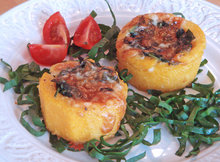Polenta baskets with sautéed spinach and Taleggio cheese Recipe