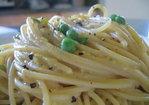 Lisa's (Somewhat) Vegetarian Lemony-Peppery-Spring Pea Pasta Carbonara Recipe