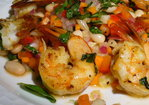 Pan-Seared Lemon-Basil Shrimp with White Bean Salad Recipe