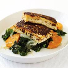 Mustard-Crusted Tofu with Kale and Sweet Potato Recipe