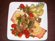 Grilled WIld Salmon with Farmer's Market Vegetables Recipe