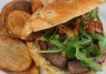 Horseradish Crusted Steak Sandwich with Arugula and Crispy Shallots Recipe